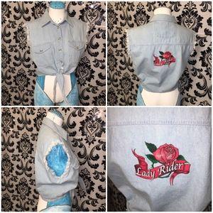 """Crop Denim Jean Jacket """"Lady Rider"""" Tattoo Logo L"""